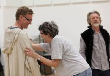 Raymond Coulthard, Nancy Meckler and Stephen Boxer in rehearsal for The Heresy of Love