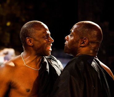 Cyril Nri (Caius Cassius) and Paterson Joseph (Brutus) Photographer: Kwame Lestrade